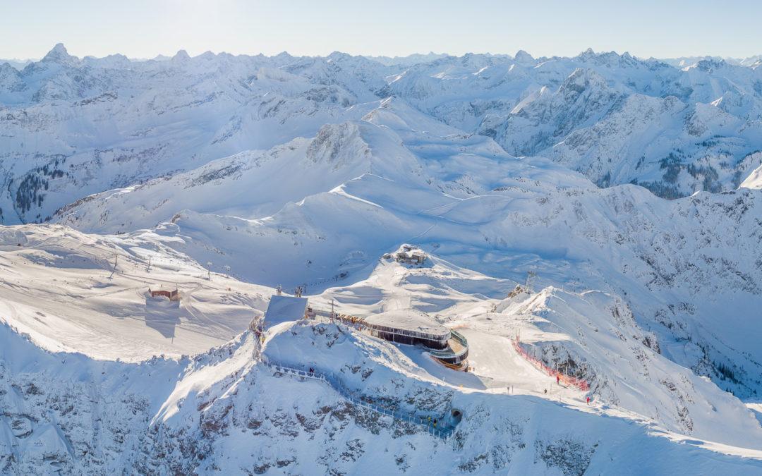 Das neue Nebelhorn Gipfelrestaurant und der neu angelegte Nordwandsteig